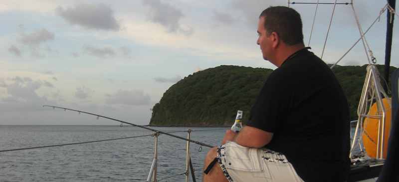 Richard Moore fishin in the Caribbean on Yacht Ibis